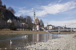 View of the Salzach river. Salzburg, Austria Stock Photos