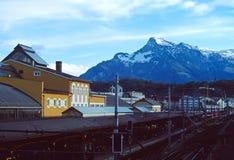 View of salzburg,austria. From above the hauptbahnhof train station Stock Photo