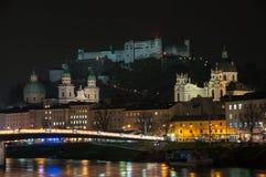 View of Salzburg, Austria at night Royalty Free Stock Photo