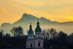 View of Salzburg, Austria at sunset Stock Photos