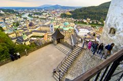 View Of Salzburg From Castle. Overview of city of Salzburg in Austria, from the perspective of Hohensalzburg, a castle that overlooks the city.  (Europe Royalty Free Stock Photography