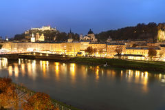 View of Salzburg with Festung Hohensalzburg and Salzach river at Stock Image