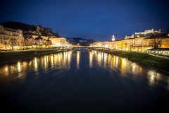 View on Salzburg at night from the bridge Stock Image
