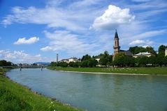 View of Salzburg with River Salzach Stock Images
