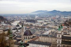 The view of Salzburg on Salzach river Royalty Free Stock Photo