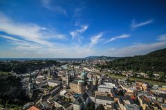 Salzburg from top view. View of Salzburg from top eye view dividing city into two part by river in summer time Stock Images
