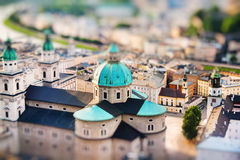 View of Salzburger Dom and the city in the evening, Salzburg Royalty Free Stock Images