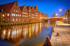 View of Salzspeicher salt storehouses of Lubeck at night Royalty Free Stock Photography