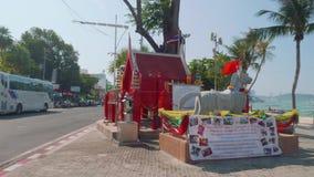 Phatthaya, Thailand - circa January 2018: View of samoraphum Thai little spirit house stock footage