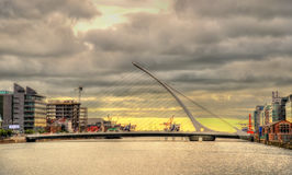 View of Samuel Beckett Bridge in Dublin Stock Image