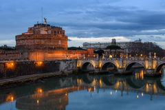 View at San Angelo Bridge, Castel San Angelo, Tiber river Royalty Free Stock Photos