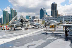 View of San Diego from the Aircraft carrier Midway Stock Image