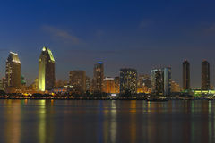 A View of San Diego Bay and Downtown. San Diego at Twilight royalty free stock photos