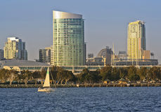 A View of San Diego Bay, a Sailboat and Downtown Royalty Free Stock Photo