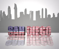 View of San Diego City. Word San Diego with National Flag of USA near skyline silhouette stock photo