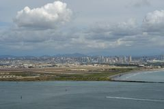 View of San Diego downtown from Cabrillo National Monument. Point Loma San Diego Bay during cloudy day stock images