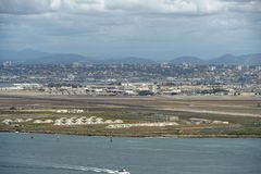 View of San Diego downtown from Cabrillo National Monument. Point Loma San Diego Bay during cloudy day royalty free stock image