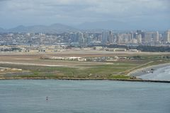 View of San Diego downtown from Cabrillo National Monument. Point Loma San Diego Bay during cloudy day stock photos