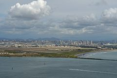 View of San Diego downtown from Cabrillo National Monument. Point Loma San Diego Bay during cloudy day royalty free stock photography