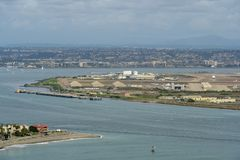 View of San Diego downtown from Cabrillo National Monument. Point Loma San Diego Bay during cloudy day royalty free stock images