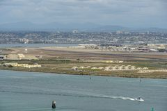 View of San Diego downtown from Cabrillo National Monument. Point Loma San Diego Bay during cloudy day stock image