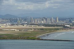 View of San Diego downtown from Cabrillo National Monument. royalty free stock image