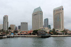 A view of the San Diego skyline. Looking across the bay at the San Diego skyline in California stock photos