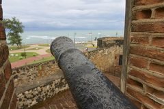 View from San Felipe Fort to the seaside in Puerto Plata, Dominican Republic. Stock Image