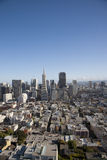 View of San Francisco. Vertical shot of SF skyline as seen from top of Coit Tower Royalty Free Stock Photos