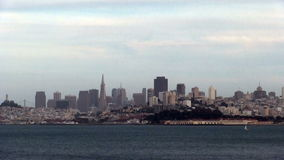 View Of San Francisco Across Bay With Sailboat stock video