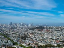 View of San Francisco and Bay Bridge from distance royalty free stock photography