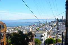 View of San Francisco Bay and Coit Tower. Scenic view from the top of a hill in San Francisco, California of the SF Bay, Coit Tower, and historic neighborhoods Royalty Free Stock Photo