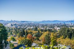 View of the San Francisco bay from a residential area in Oakland. Amazing view of the San Francisco bay from a residential area in Oakland on a sunny autumn day stock photo