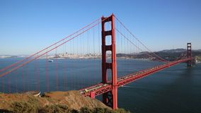 View at San Francisco behind Golden Gate Bridge stock video footage