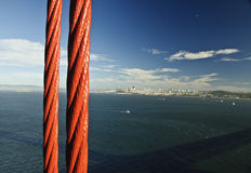 View of San Francisco city from Golden Gate Bridge Royalty Free Stock Photo