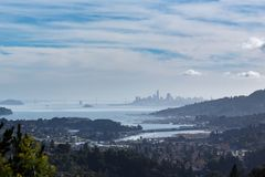 View of San Francisco from Marin. View of San Francisco Bay and skyline from Marin County Royalty Free Stock Images