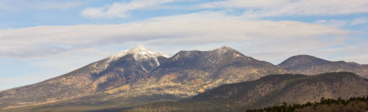 A View of the San Francisco Peaks in Early Winter Stock Images