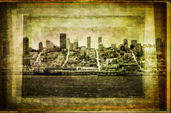 View of San Francisco skyline in vintage filtered textured style Stock Photo