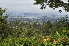 A foggy San Francisco cityscape. stock photo