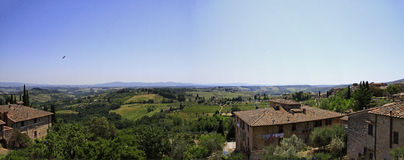 View from San Gimignano, Italy. San Gimignano is an Italian hill town in Tuscany, southwest of Florence. Encircled by 13th-century walls, its old town centers on Royalty Free Stock Photography