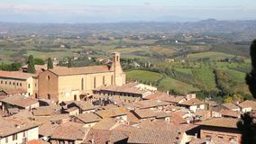 View of San Gimignano and the landscape in Tuscany stock video footage