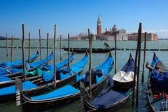 View on San Giorgio island with gondolas, Venice Royalty Free Stock Photography