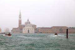 View of San Giorgio Maggiore church in San Giorgio Island in a foggy day, Venice Venezia, Italy. royalty free stock image