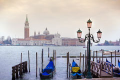 View of San Giorgio maggiore with gondolas. From San marco Stock Image