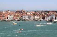 View from San Giorgio Maggiore over Venice, Italy. Venice, seen from the tower of San Giorgio Maggiore church on the same island. The white tower on the left Stock Images