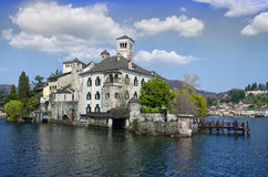 View of San Giulio island on Lake Orta in Italy Royalty Free Stock Photos