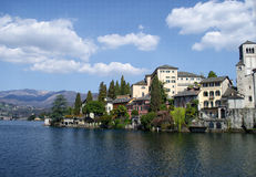 View of San Giulio island on Lake Orta in Italy Royalty Free Stock Photo