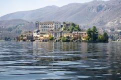 View of San Giulio island on Lake Orta in Italy Stock Photos