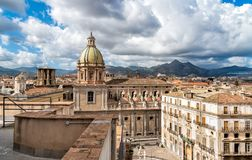 View of San Giuseppe dei Teatini church from roof of Santa Caterina church in Palermo, Sicily Royalty Free Stock Photography