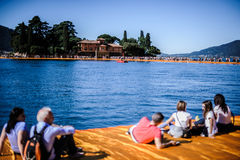 View of San Paolo island from the Floating Piers Royalty Free Stock Photo